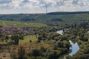 Blick auf den Stellplatz an der Mainfähre in Nordheim bei Volkach