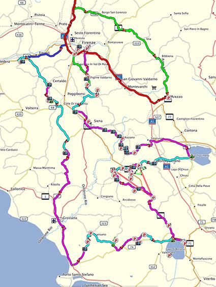 Unsere Reiseroute durch die Toskana im September 2015
