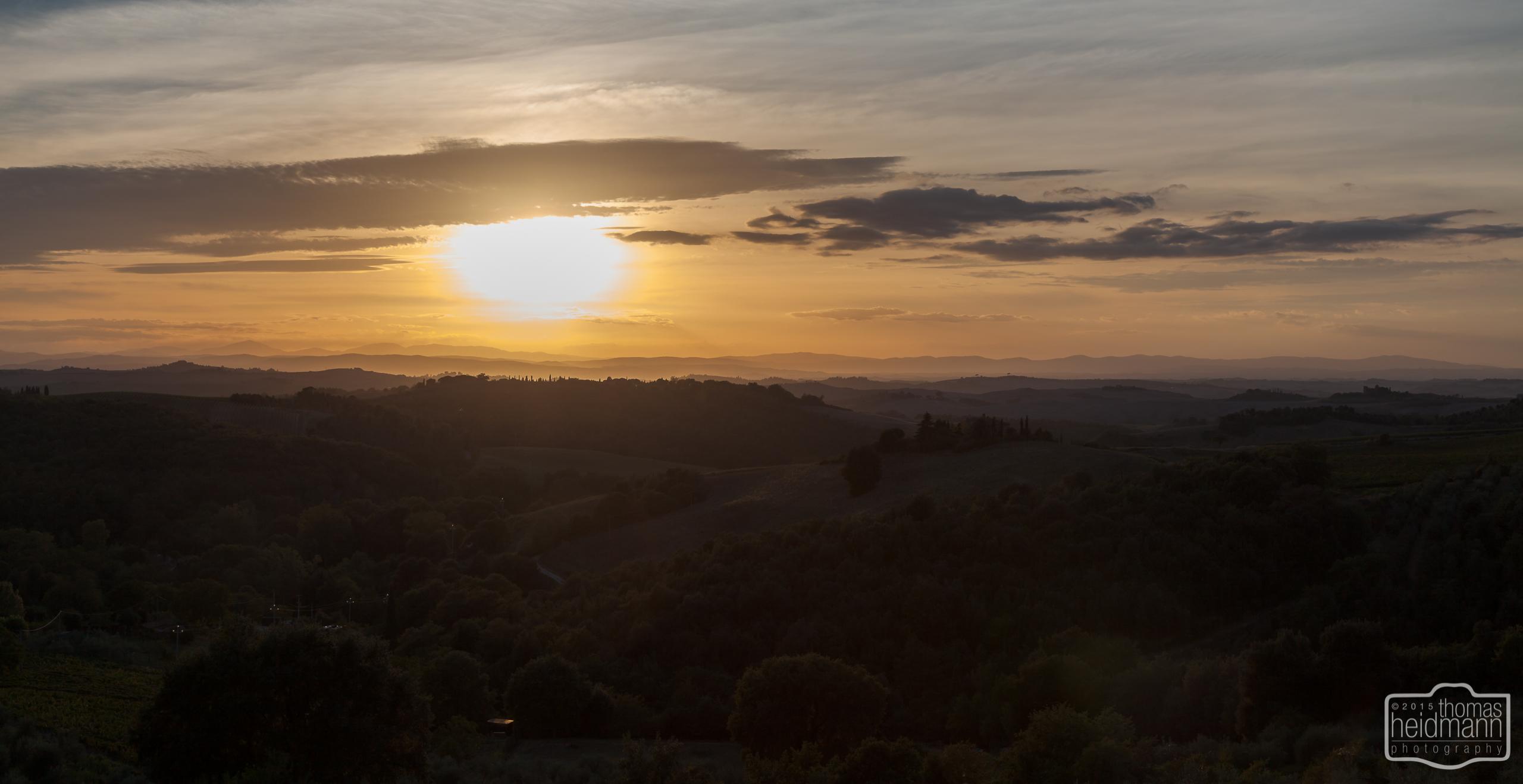 Sonnenuntergang in Trequanda