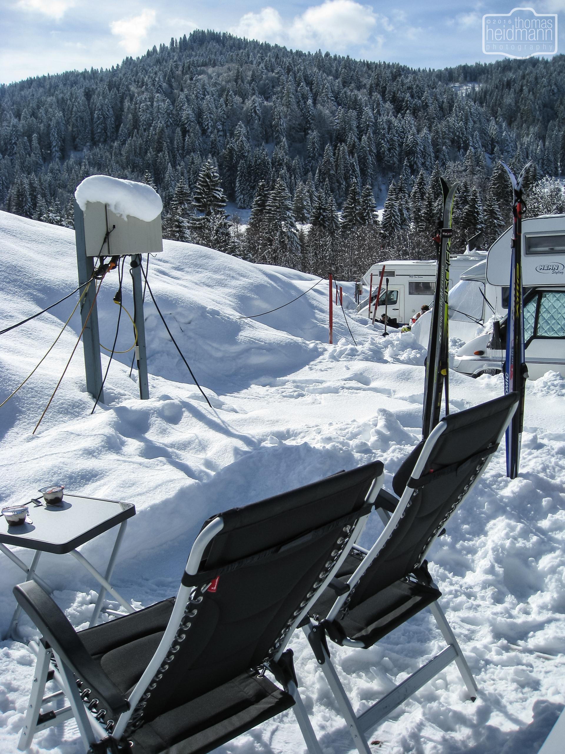 Sonnenanbeter lieben den Schnee