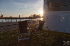 Sonnenuntergang auf dem Wohnmobilstellplatz Nedwiganger in Wittenberge