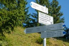Wanderung auf dem Grat der Nagelfluhkette - Wegweiser und Hinweis